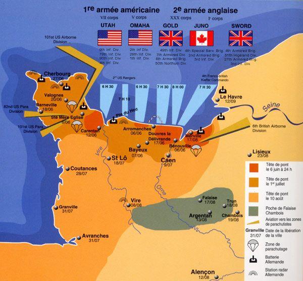 """Résultat de recherche d'images pour """"Carte : juin- juillet 1944 les Alliés libèrent le Calvados, la Manche et l'Orne"""""""