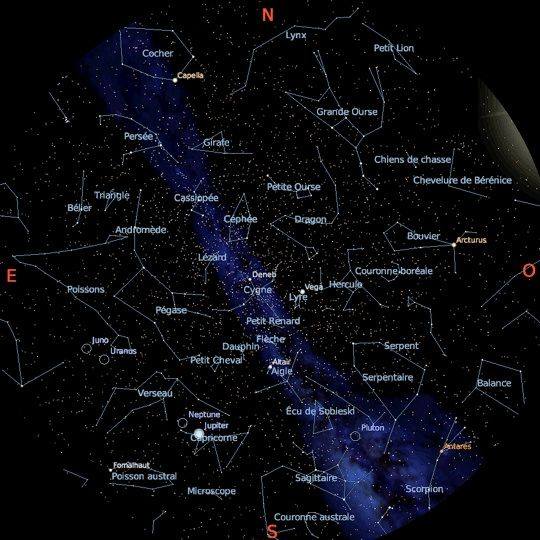 La carte du ciel en ce moment